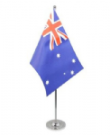 Australia Desk / Table Flag with chrome stand and base.
